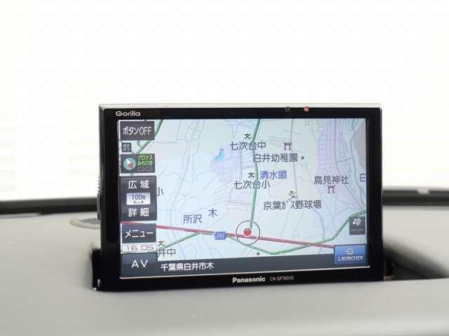 地デジチューナーも内蔵したストラーダ製ナビゲーション装備。タッチパネル採用の高性能モデルとなり、バックカメラも装備している為、Rレンジに入れれば自動にて後方の映像が確認可能です