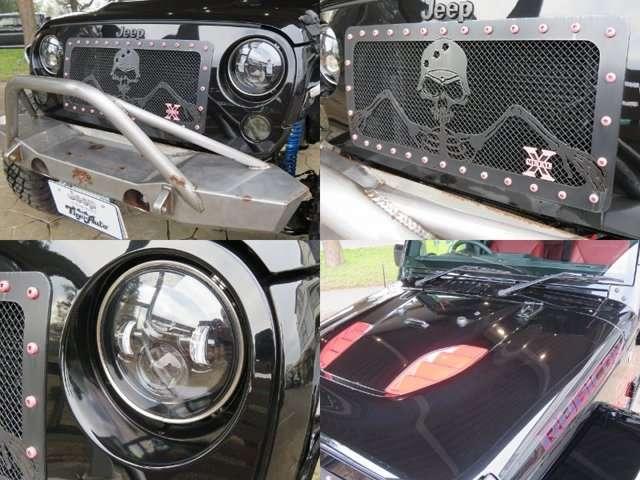 ポイズンスパイダーフロントバンパー、LEDヘッドライト、LEDフロントウィンカー
