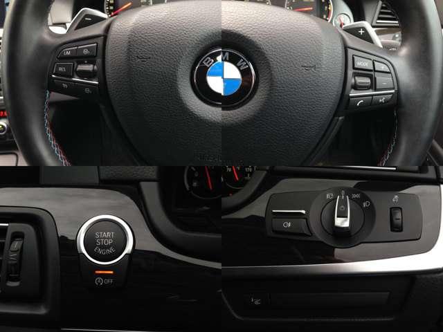 【左上&右上】アクセルレス走行のクルコン&パドルシフト&ステアスイッチ搭載 【左下】プッシュスタート&iストップスイッチ 【右下】ヘッドアップディスプレイスイッチ&ダイヤル式のヘッドライトスイッチ