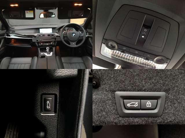 【左上】収納豊富なインパネ周り  【右上】サンルーフ開閉スイッチ  【左下】室内用電動リアゲートスイッチ  【右下】リアゲート扉にも電動リアゲートスイッチが付いています